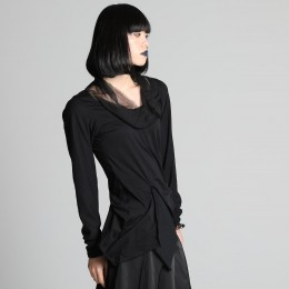 chiffon High-necked Cut and sew