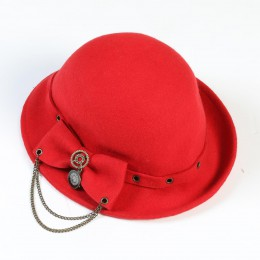 Elegant Ribbon Hat/RED