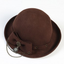 Elegant Ribbon Hat/BROWN