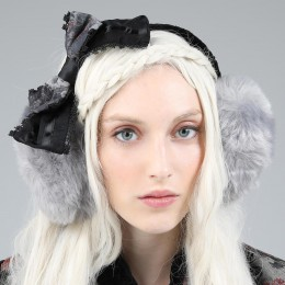 Gray ribbon Ear Muff