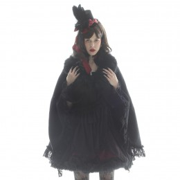 FUR COLLAR VELVET CAPE COAT