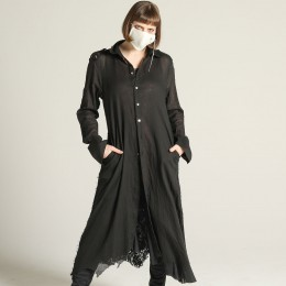 Damage gauze Long Lace blouse