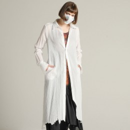 Damage gauze Long blouse