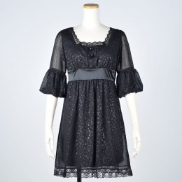 Layered Chiffon Dot Dress