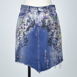 Painting Angel's Wing Denim Skirt