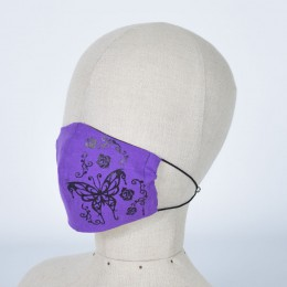Purple mask wear of butterfly and rose