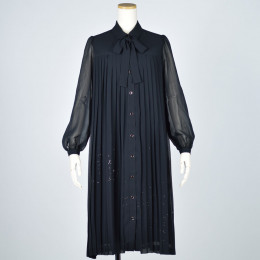 Shirt type pleated dress