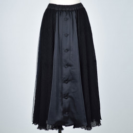 See-through & pleated skirt
