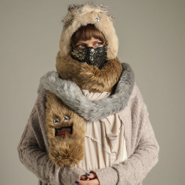 Monster brown eco-fur muffler