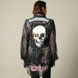 Paint patchwork skull shirt