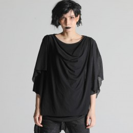 Shoulder drape gather tops
