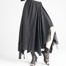 Patchwork Drape Long Skirt