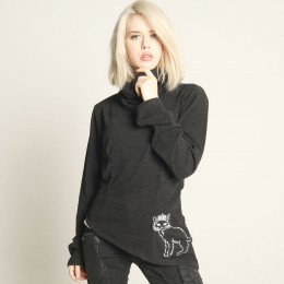 Black cat high neck knit