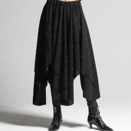 Fur and lace asymmetric skirt