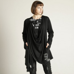 Zipper drape feather cardigan