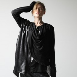 Draped zipper cardigan