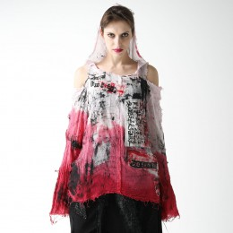 Red dyeing hoodie gauze shirt