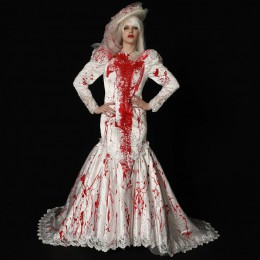 Bloody Mermaid Long train Wedding Dress