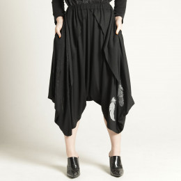 Feather drape sarouel pants