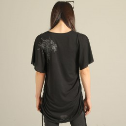 Devil's wing sleeve drape T-SH