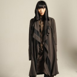 Military long drape cardigan