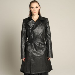 Japanese leather long trench coat