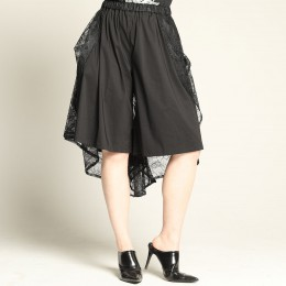 Bustle train lace wide pants