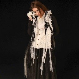 White & Black gauze Lace stole