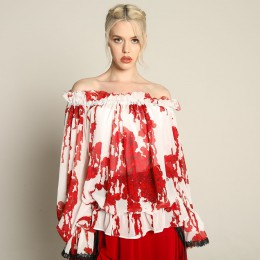 Bloody Rose Off Shoulder tunic