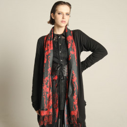 Blood rose side gather cardigan