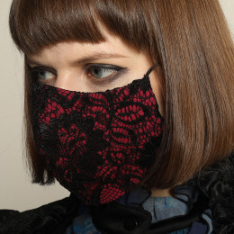 Pink gothic lace mask wear / M