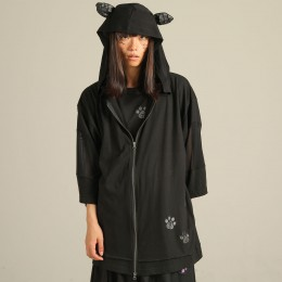 Footprint cat ear hoodie