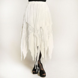 Bone white gauze & lace skirt