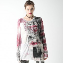 Gauze knit painting T-SH