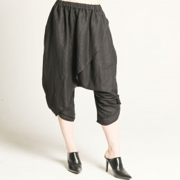 Side gather wrap sarouel pants