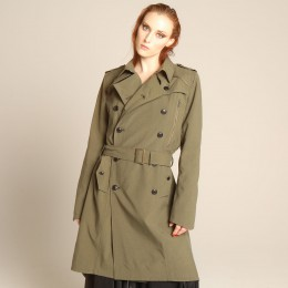 Water repellent long trench coat