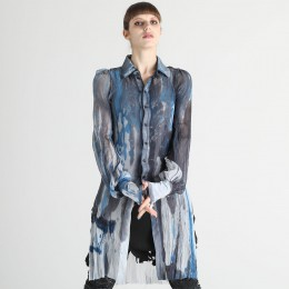 Blue bloody silk blouse